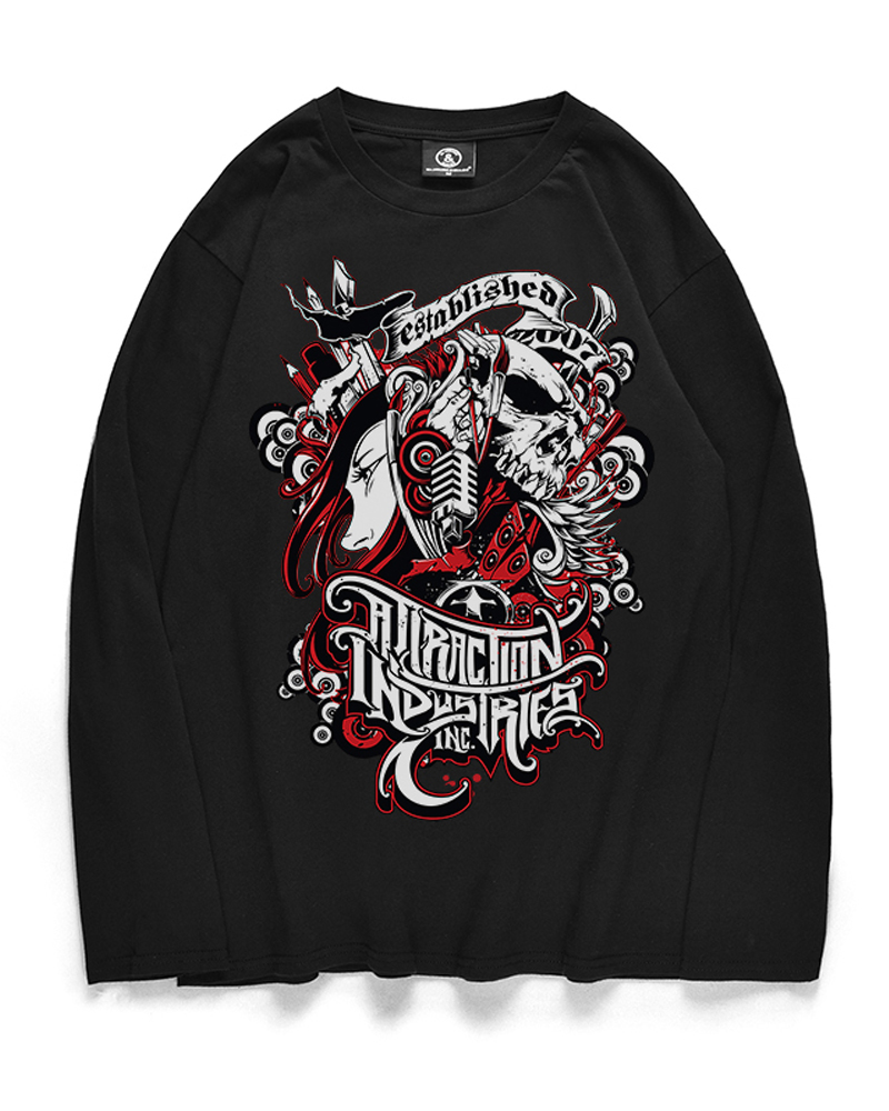 Cool Pattern Print Long Sleeve Cotton Casual Style 3D T-Shirt