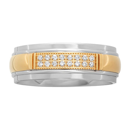 1/10 CT. T.W. Diamond Men's Two-Tone Stainless Steel Wedding Band, 10 , No Color Family