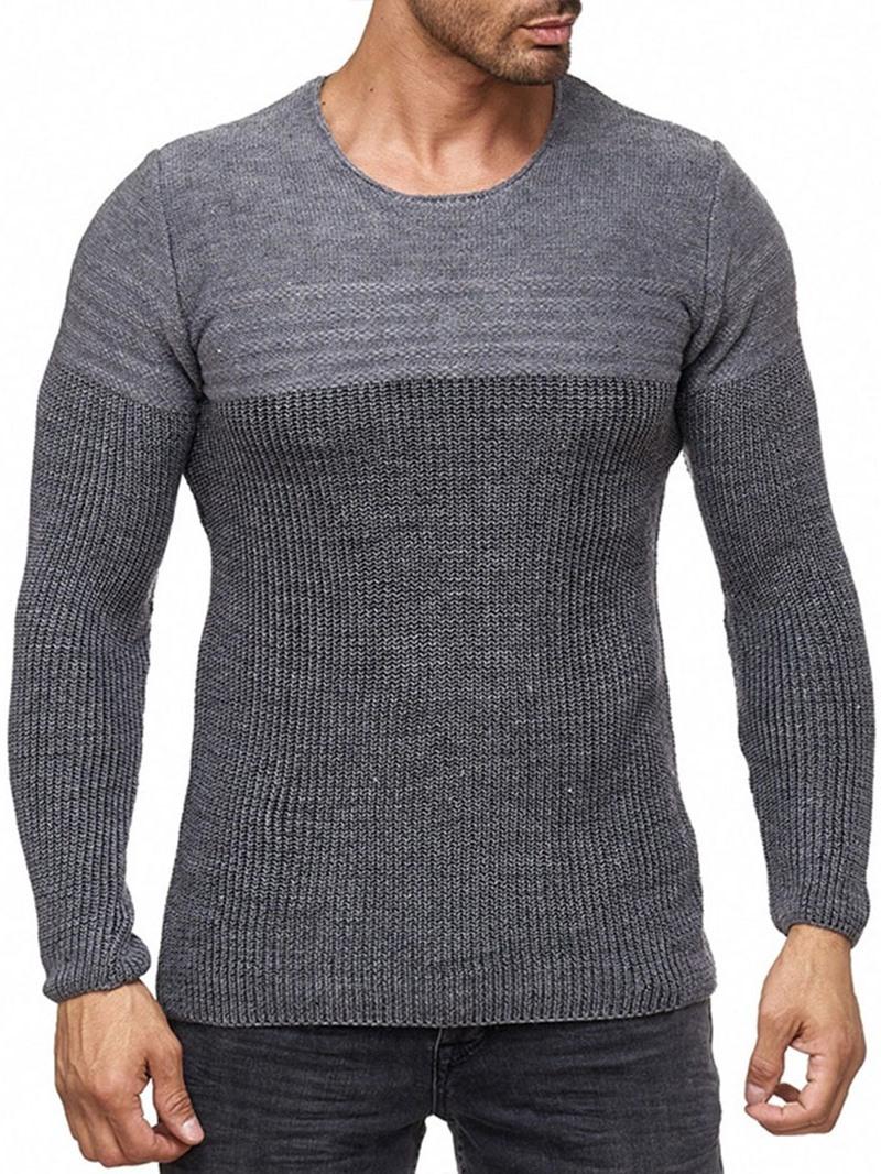 Ericdress Round Neck Color Block Standard Men's Slim Casual Sweater