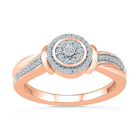 Womens 1/5 CT. T.W. Genuine White Diamond 10K Rose Gold Engagement Ring, 4 , No Color Family
