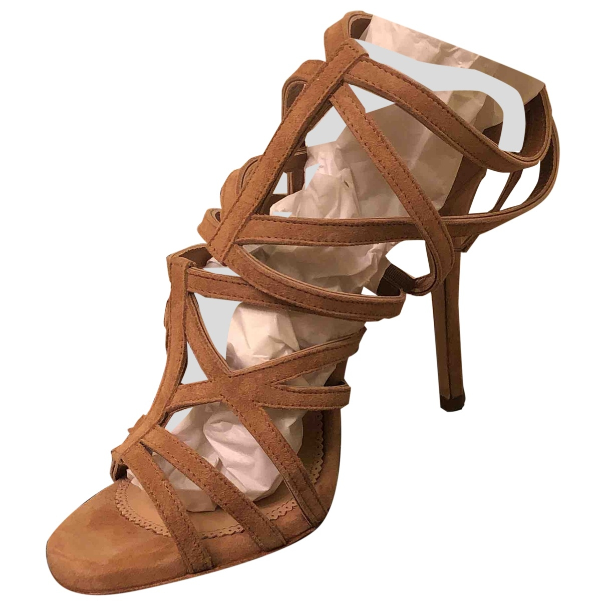 Elisabetta Franchi \N Camel Suede Sandals for Women 37 EU