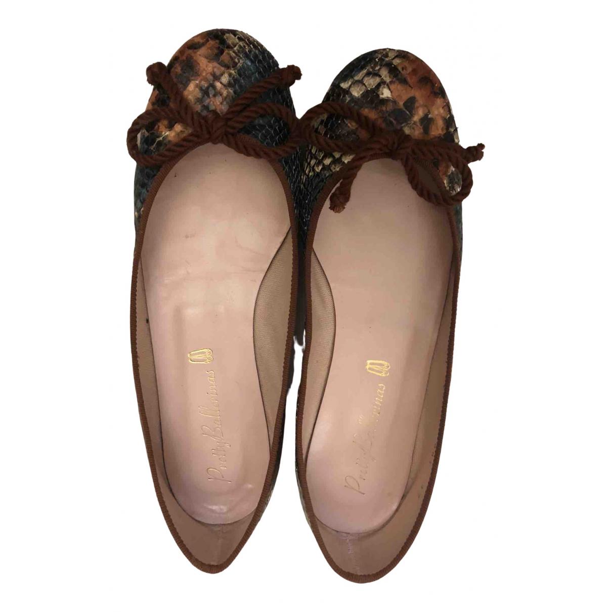 Pretty Ballerinas \N Ballerinas in  Braun Leder