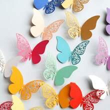 DIY Wandaufkleber mit buntem Schmetterling Muster 12 Stuecke