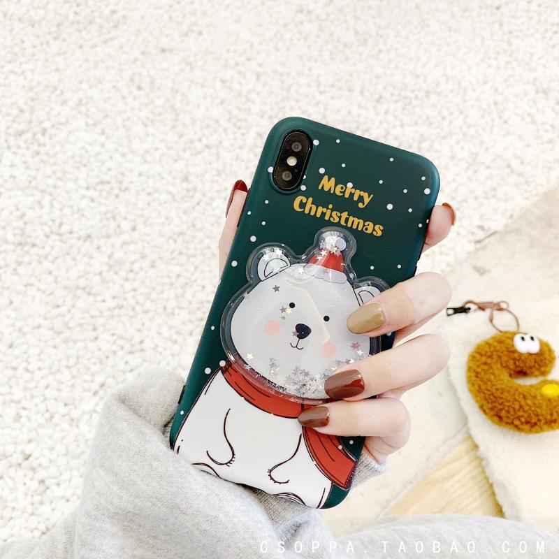 Christmas Cute Cartoon Solid Sequin Phone Case