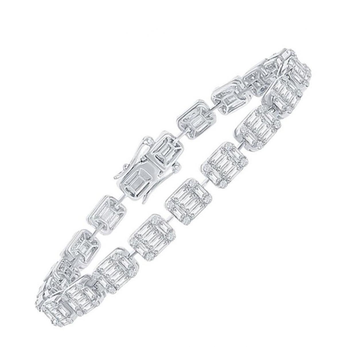 - Bracelet Tennis pour femme en or blanc - blanc