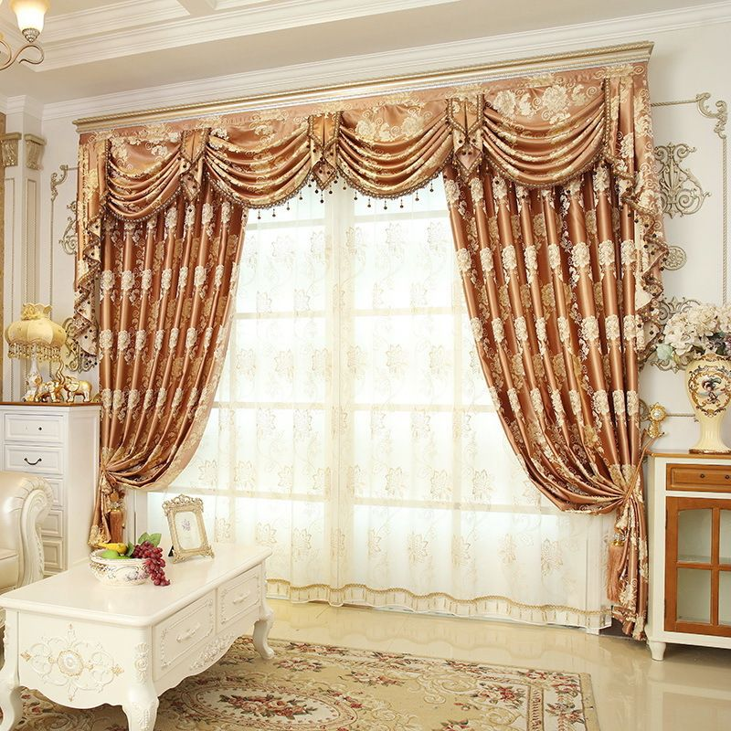 Luxurious Chiffon Jacquard Custom Living Room Breathable Sheer Curtains Voile Drapes Environment-Friendly and Pollution-Free Material No Pilling No Fa