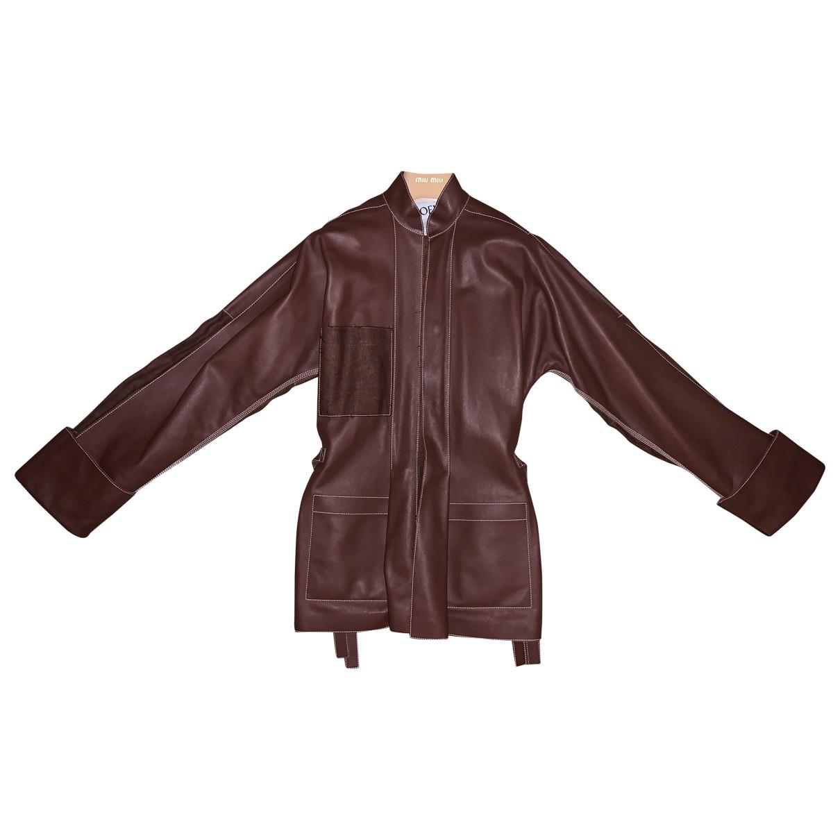 Loewe - Blouson   pour femme en cuir - marron