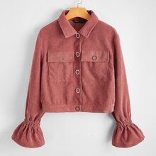 Flounce Sleeve Press Buttoned Flap Pocket Patched Cord Jacket