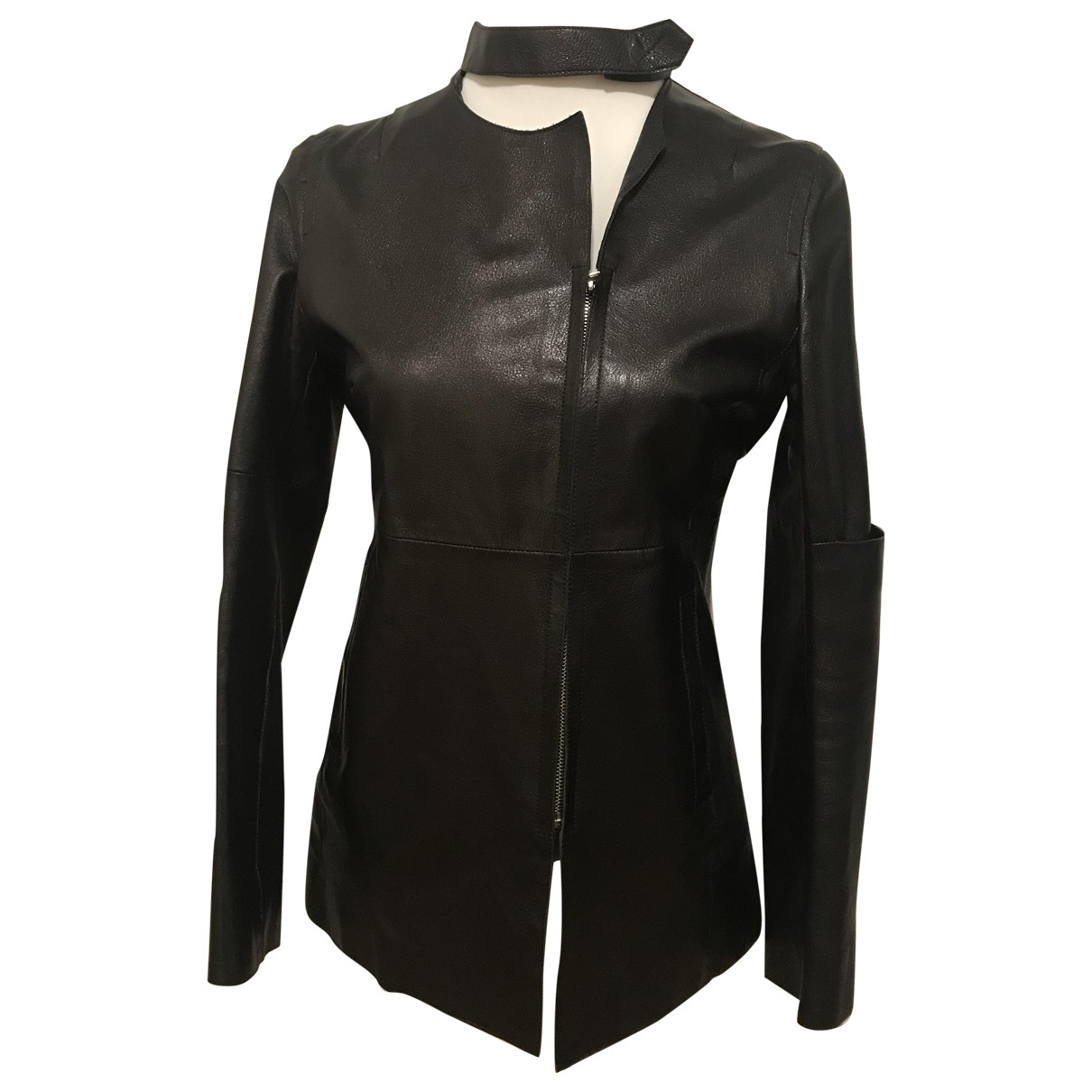 Costume National \N Black Leather Leather jacket for Women 42 IT