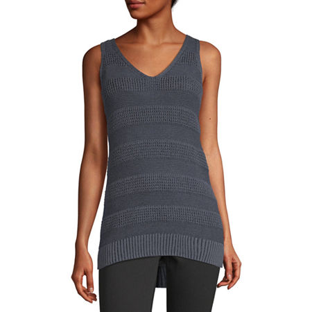 a.n.a Womens V Neck Sleeveless Pullover Sweater, X-large , Blue