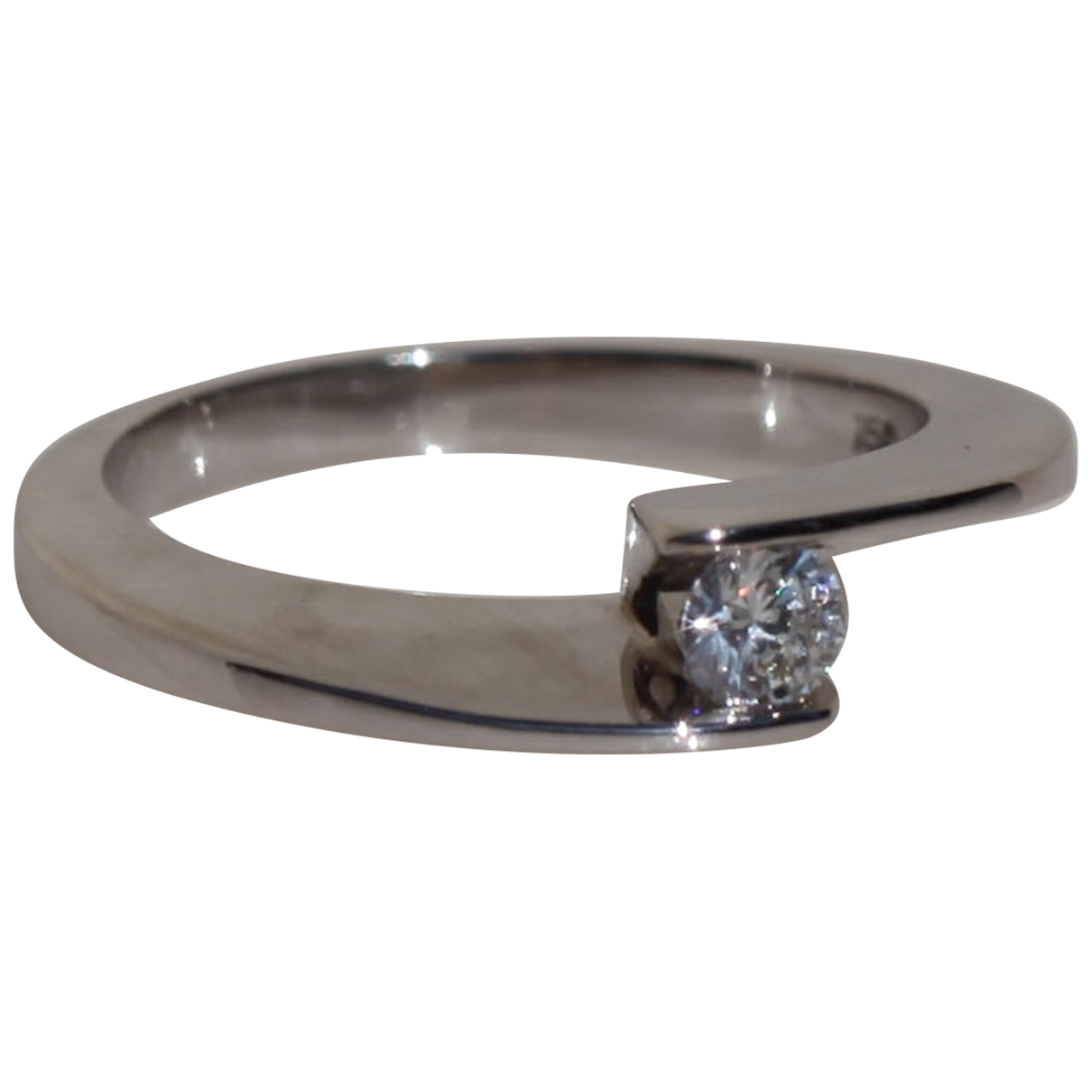 Non Signé / Unsigned Solitaire Silver White gold ring for Women 44 MM