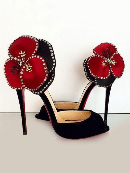 Milanoo Black Evening Shoes Peep Toe Stiletto Heel Nubuck Flowers Women's Pumps