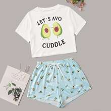 Conjunto de pijama con estampado de aguacate y letra