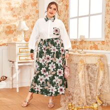 Plus Pocket Patched Balloon Sleeve Blouse and Floral Skirt Set