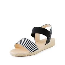 Sandalias planas de rayas de punta abierta
