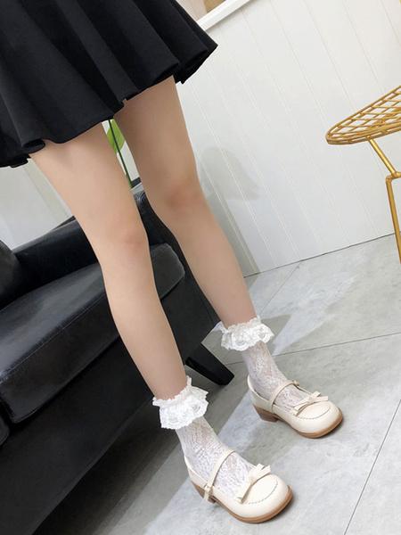 Milanoo Sweet Lolita Footwear Black Bows Buttons Lolita Shoes