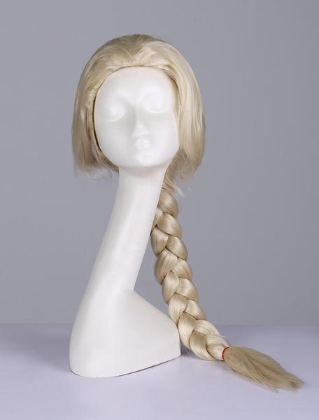 Milanoo Frozen Princess Elsa Wig Disney Cartoon Cosplay Wig Blonde Braided Wig