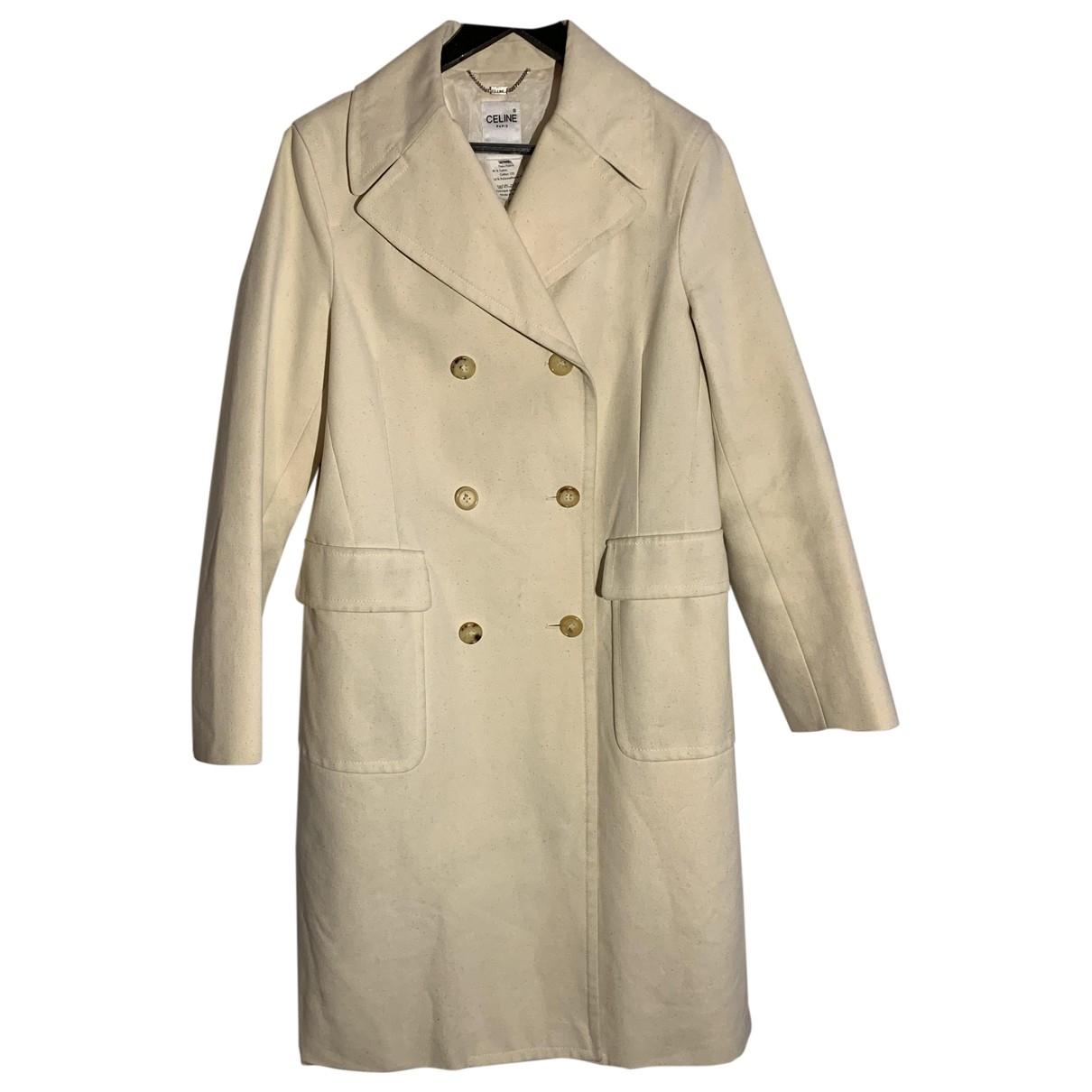 Celine - Manteau   pour femme en coton - ecru