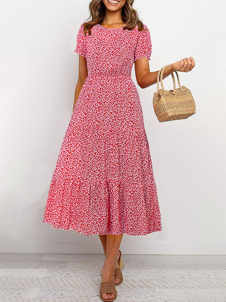 Milanoo Ditsy Floral Maxi Dress Short Sleeves Jewel Neck Summer Dress