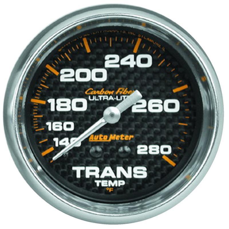 AutoMeter GAUGE; TRANSMISSION TEMP; 2 5/8in.; 140-280deg.F; MECHANICAL; CARBON FIBER