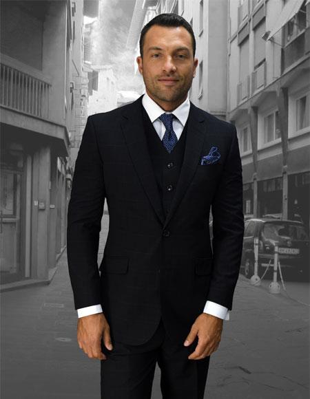 Men's Statement Plaid Navy 2 Button Double Breasted Vest Suit