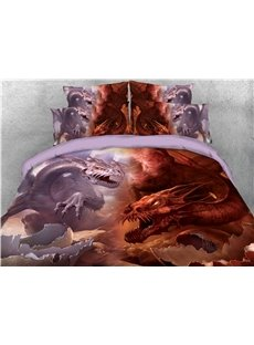 Eye-catching Pink and Red Dragon and Eggshell Printed 4-Piece 3D Bedding Sets/Duvet Covers