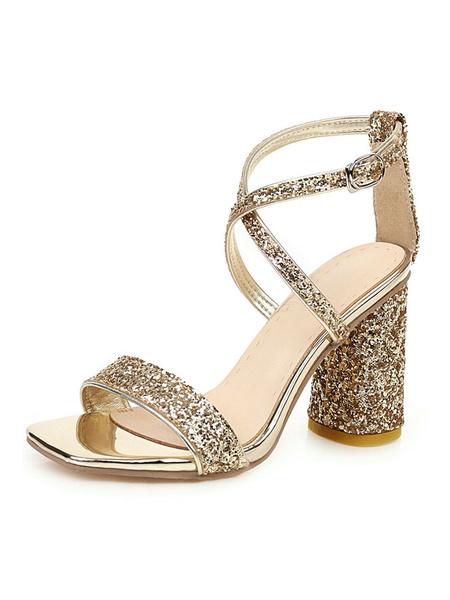 Milanoo Cilindro Sandalias cruzadas con purpurina y tacon alto Lentejuelas plateadas Zapatos de noche Zapatos de fiesta para mujer