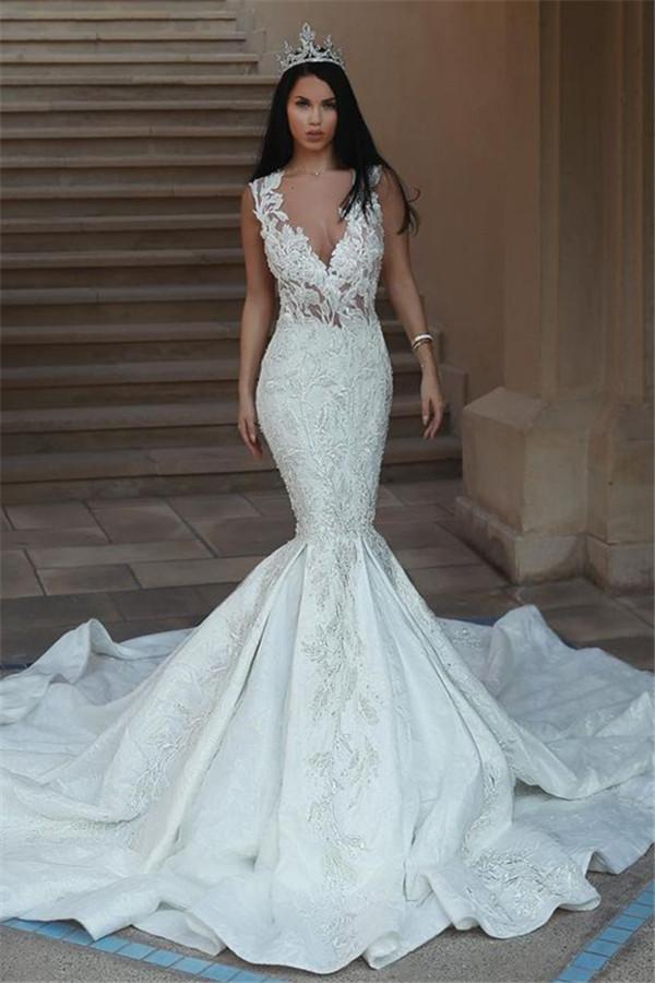 Vestidos de novia sin mangas elegantes del V-Cuello | Vestidos de novia de encaje sirena con botones BA9550