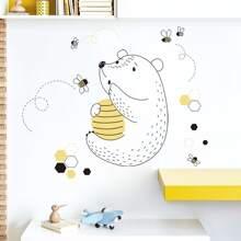 Cartoon Bear Print Wall Sticker