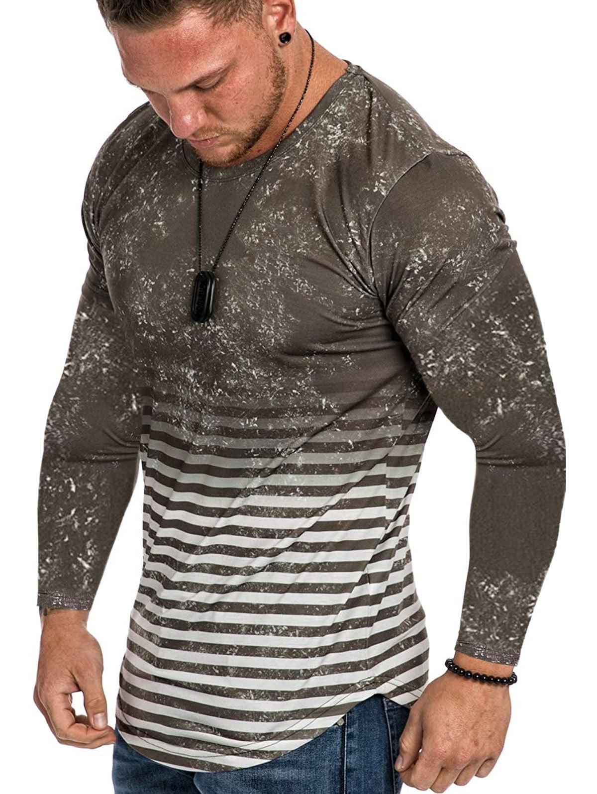 Striped Spot Ombre Print Curved Hem T-shirt