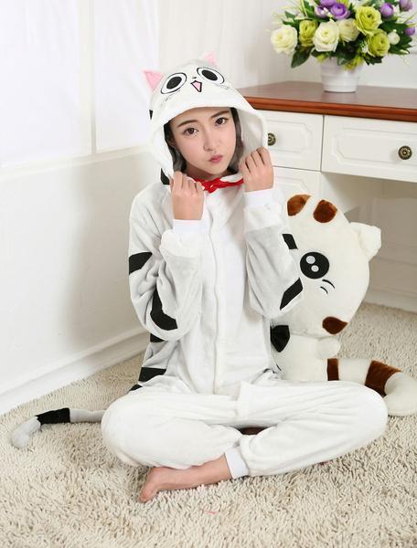 Milanoo Kigurumi Pajamas Chi Cat Onesie Flannel Anime Winter Sleepwear For Adult Unisex Back With Zipper Costume Halloween