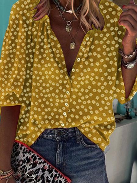 Milanoo Burgundy Women Blouse Jewel Neck Long Sleeves Printed Casual Tops