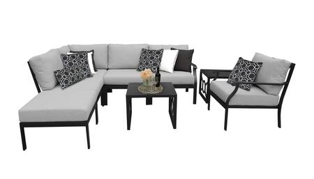 MADISON-08m-GREY Kathy Ireland Homes and Gardens Madison Ave. 8 Piece Aluminum Patio Set 08m with 1 Set of Snow and 1 Set of Slate