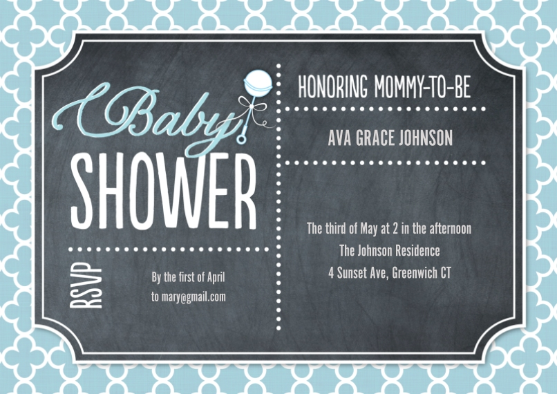 Baby Shower Invitations Flat Glossy Photo Paper Cards with Envelopes, 5x7, Card & Stationery -Baby Shower Lattice