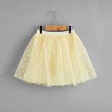 Girls Polka-dot Mesh Skirt