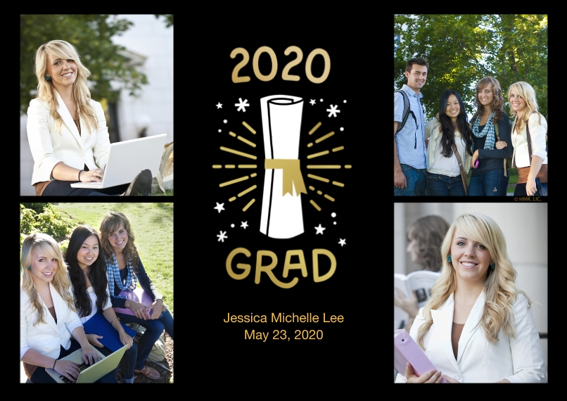 2020 Graduation Announcements 5x7 Cards, Premium Cardstock 120lb with Scalloped Corners, Card & Stationery -2020 Grad Diploma Starburst Collage by Hal