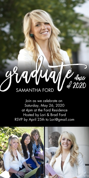 2020 Graduation Invitations Flat Matte Photo Paper Cards with Envelopes, 4x8, Card & Stationery -Graduate Handlettered 2020 by Tumbalina