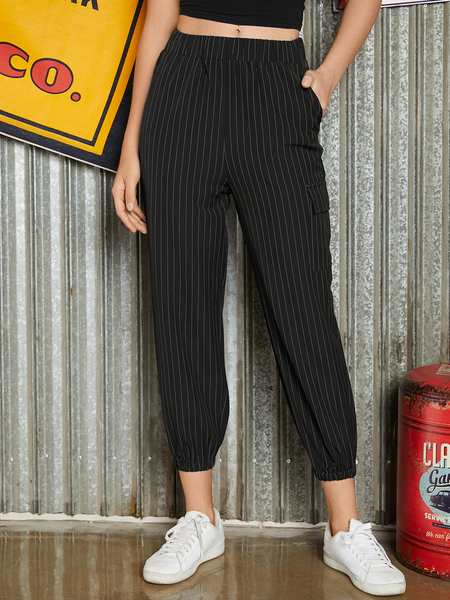 YOINS Black Side Pockets Stripe Pants