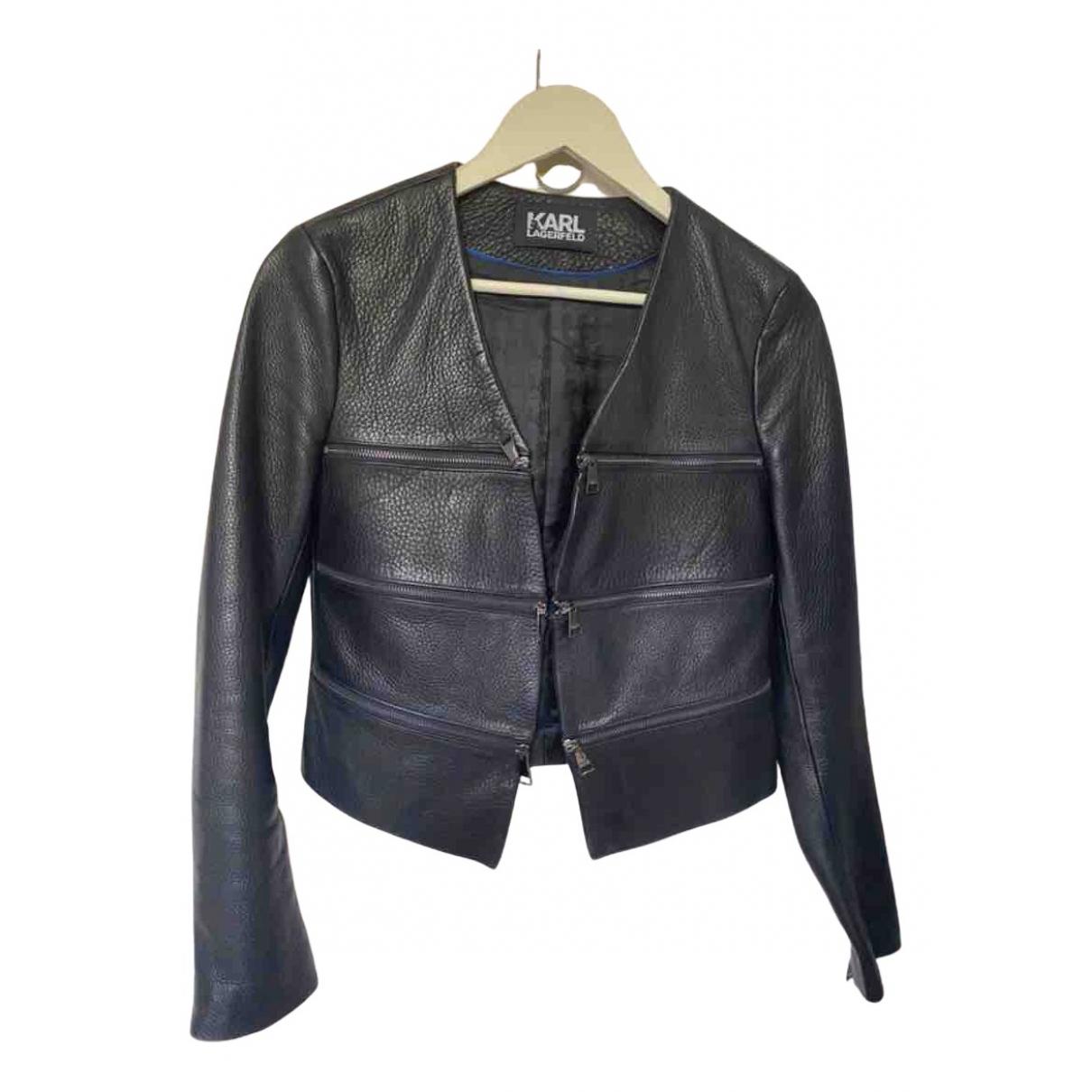 Karl Lagerfeld - Blouson   pour femme en cuir - noir