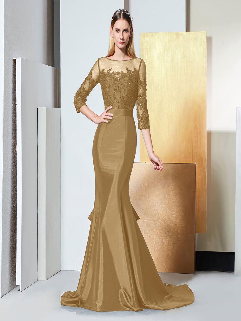 Ericdress Beading 3/4 Length Sleeves Mermaid Evening Dress