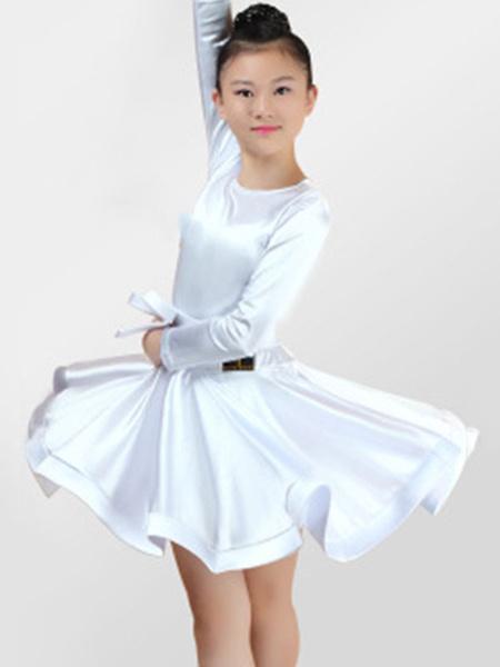 Milanoo Dance Costumes Latin Dancer Dresses Kids Satin Long Sleeve Round Neck Ballroom Dancing Wears For Girls Halloween