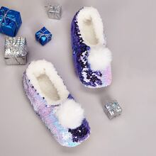 Weihnachten Hausschuhe mit Pompons & Pailletten Dekor