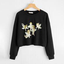 Angel Graphic Crop Sweatshirt