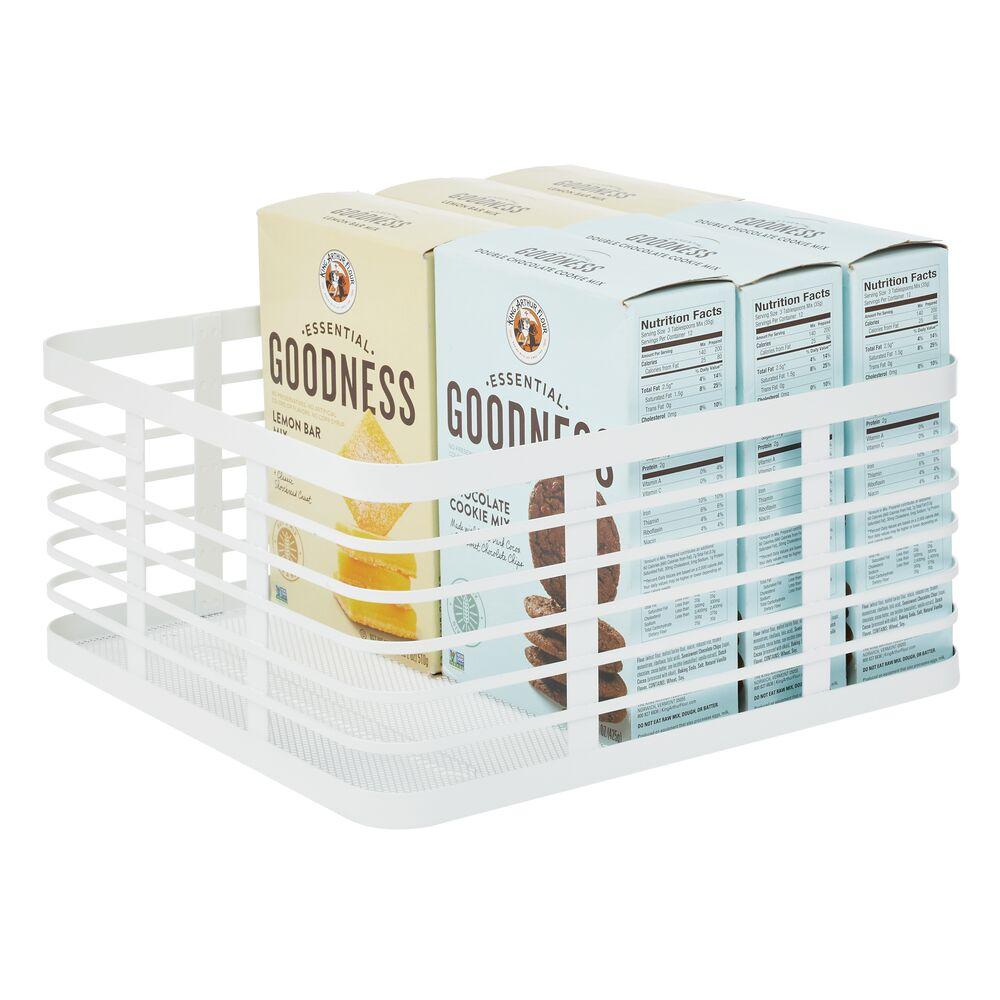 Metal Wire Kitchen Pantry Storage Organizer Bins in White, 12