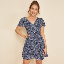 Kleid mit Bluemchen Muster, V Kragen und Knopfen vorn