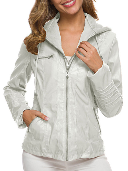 Milanoo Women Short Jackets Hooded Long Sleeve Zip Up PU Leather Winter Jacket