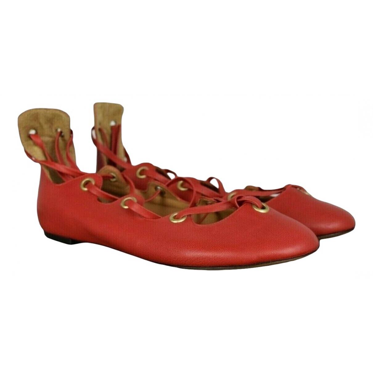 Isabel Marant \N Red Leather Ballet flats for Women 36 EU