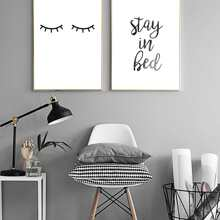 1pc Eyelash & Slogan Graphic Wall Print Without Frame
