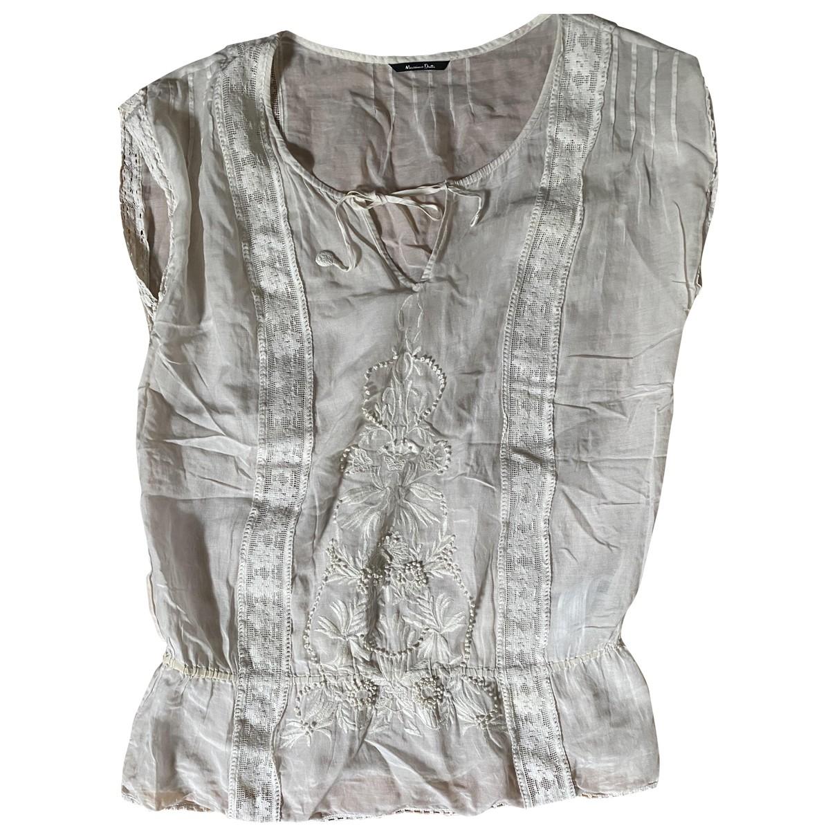 Massimo Dutti - Top   pour femme en coton - beige
