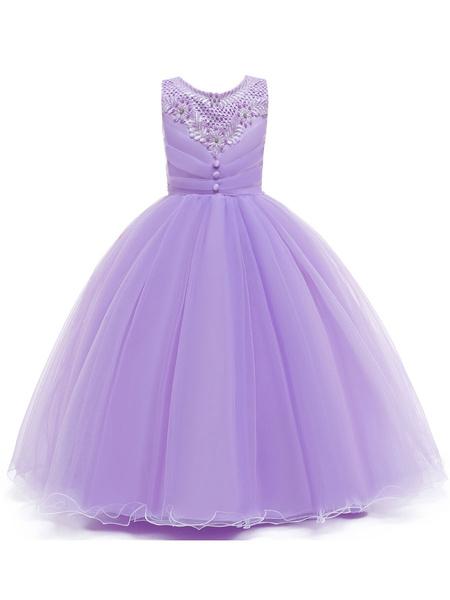 Milanoo Flower Girl Dresses Jewel Neck Polyester Cotton Sleeveless Ankle Length Princess Silhouette Beaded Kids Party Dresses